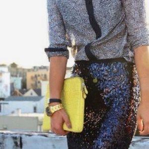 Ann Taylor Black Pinwheel Sequin Pencil Skirt